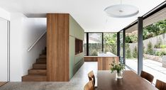 Cooks River House by studioplusthree - Contemporary Residential Architecture Timber Flooring, Concrete Floors, Open Space Living, Living Spaces, Spotted Gum Flooring, Journal Du Design, Steel Stairs, Suburban House, Landscaping