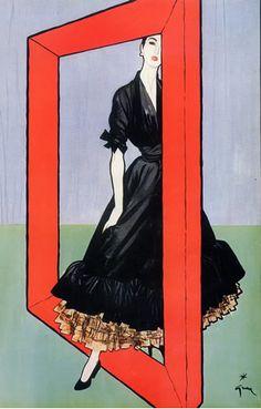Illustration by René Gruau, 1947. Dress: Christian Dior.