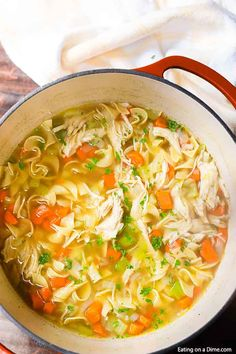 You can enjoy this Homemade Chicken Noodle Soup Recipe in just 20 minutes. If you are craving soup, this is the best homemade chicken noodle soup that is cooked on the stove top. This easy healthy chi Easy Homemade Chicken Noodle Soup Recipe, Best Chicken Noodle Soup, Chicken Soup Recipes, Easy Soup Recipes, Healthy Chicken Recipes, Recipe Chicken, Noodle Soups, Basic Soup Recipe, Chicken Soup For Colds