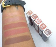 My Favorite Maybelline Nude Lipstick Swatches (Top to Bottom: 295 Bronzed, 240 Barely Brown, 570 Toasted Truffle, 657 Nude Nuance, and 765 Grey Over It ) - Nubelease