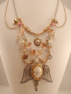 SALE  Pink Cameo Goddess  Assemblage Necklace  by InVintageHeaven, $48.00