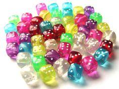 Rainbow Creations Coloured Dice Beads