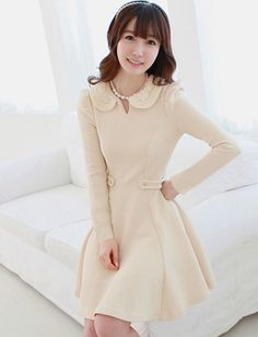 Women Sweet Style Crocheting Collar Pleated Dress - Item 687354 at Eastclothes.com