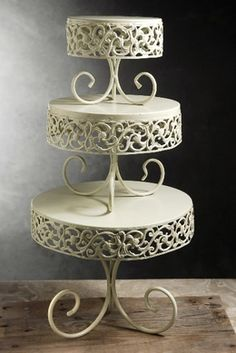 A variety of cake stands and serving trees
