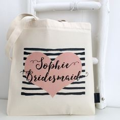 Unique Personalised Gifts Website is coming soon Will You Be My Bridesmaid Gifts, Bridesmaid Bags, Personalized Bridesmaid Gifts, Reusable Tote Bags, Unique, Cards, Maps