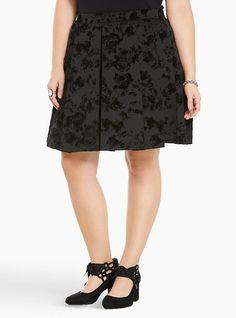 Burnout Velvet Pleated Skater Skirt, DEEP BLACK