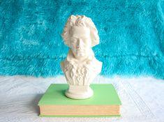 Ceramic Beethoven Bust, Vintage Handmade White Sculpture / Statue