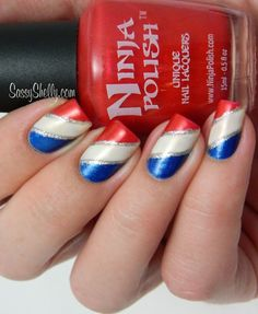 Independence Day Nail Design - American Flag, negative space star, hand placed glitter. Red White and Blue manicure for the 4th of July or Memorial Day.