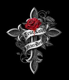 Art by Gothic Rose Cross Wallpaper, Gothic Wallpaper, Skull Wallpaper, Heart Wallpaper, Cruces Tattoo, Cross With Wings Tattoo, Hand Tattoos, Cross Drawing, Celtic Cross Tattoos