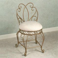 Touch of Class Gianna Vanity Chair Venetian Gold * Visit the image link more details. (This is an affiliate link) Stool Chair, Diy Chair, Swivel Chair, Chair Cushions, Bathroom Vanity Chair, Vanity Chairs, Bathroom Vanities, Vanity Bench, Girls Desk Chair