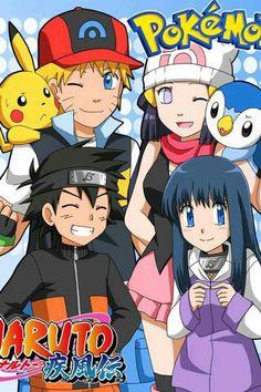 Pokemon, Naruto, crossover, Hinata, Ash Ketchum, Dawn, Pikachu, Piplup; Anime