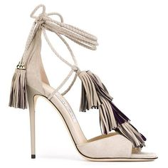Jimmy Choo 'Mindy' sandals (€1.435) ❤ liked on Polyvore featuring shoes, sandals, heels, delete, leather ankle strap sandals, heels stilettos, tassel sandals, leather shoes and nude heeled sandals