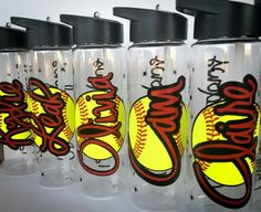 Softball water bottle. So cute!