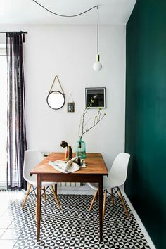 Kinda like this dining corner - but love the idea of the pendant light spreading out from a central point