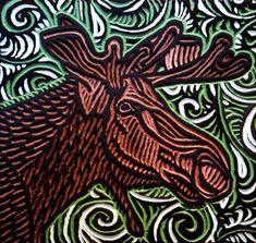 LISA  BRAWN   WOODCUT           Moose