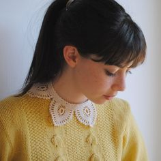 hair, yellow knit sweater and pretty collar. all full of loveliness.