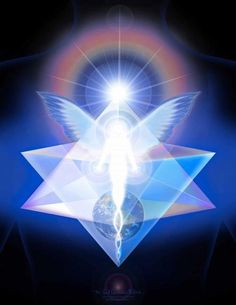 "cosmofilius: """"Merkabah, also spelled Merkaba, is the divine light vehicle allegedly used by ascended masters to connect with and reach those in tune with the higher realms. ""Mer"" means Light. ""Ka"" means Spirit. ""Ba"" means Body. Mer-Ka-Ba means the. Art Visionnaire, Archangel Gabriel, Archangel Michael, Ascended Masters, A Course In Miracles, Divine Light, Visionary Art, Flower Of Life, New Age"