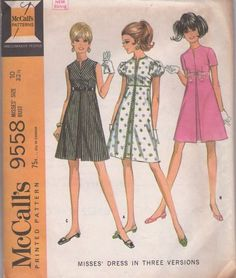 MOMSPatterns Vintage Sewing Patterns - McCall's 9558 Vintage 60's Sewing Pattern ADORABLE Mod Babydoll High Empire Waisted Inverted Front Pleat Cocktail Party Dress, So TWIGGY