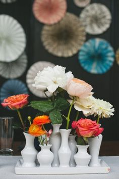 Fun vase: http://www.stylemepretty.com/new-york-weddings/new-york-city/brooklyn/2015/04/06/colorful-americana-wedding-in-brooklyn/ | Photography: Readyluck - http://www.readyluck.com/