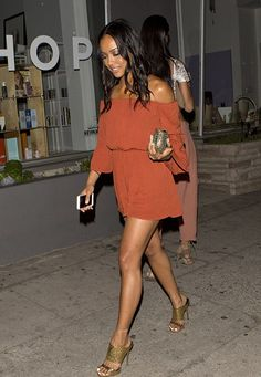 aa367d7a28 Karrueche Tran in L.A. Off The Shoulder Playsuit