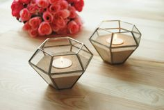 Geometric Glass Candle Holder/ Wedding Candles / Wedding Lights/ Tealight Holder / Geometric Candles/ Stained Glass Candle Holder Set of Two