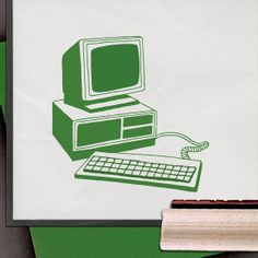 Retro Computer Rubber Stamp by lorddudleys on Etsy, $6.50