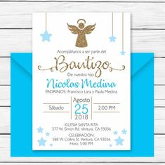 Baptism Invitation In Spanish Printable Boy Invitacion image 0 Pink Invitations, Custom Invitations, Baby Shower Invitations, Invitation Cards, Shower Favors, Party Favors, Baptism Centerpieces, Baptism Decorations, Balloon Decorations