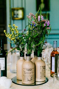 Stylish & Sassy Gin Theme Wedding at Bradbourne House, Kent. Budget Wedding Centerpieces, Elegant Centerpieces, Wedding Decorations, Decor Wedding, Wedding Centrepieces, Purple Wedding, Trendy Wedding, Wedding Flowers, Elegant Wedding