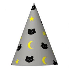 #kitty Cat Moon And Stars Party Hat - #Halloween happy halloween #festival #party #holiday