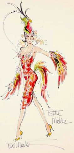 "A marker and ink on paper design sketch signed in marker, ""Bob Mackie"" and annotated ""Bette Mi. - Versos E Toadas Bob Mackie, Bird Costume, Bette Midler, Illustration Sketches, Illustration Fashion, Fashion Illustrations, Theatre Costumes, Sketch Inspiration, Fashion Sketches"