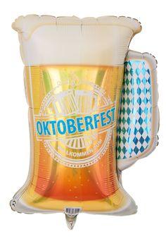 """Geformt wie eine Oktoberfest Mass Bier weist dieser Heliumballon ein weiteres bayerisches Merkmal auf: Das blau-weiße Rautenmuster, das auch auf der Flagge des Freistaats zu sehen ist. Außerdem ziert die Aufschrift """"Willkommen zum Oktoberfest"""" den Bier Ballon und macht unwiderruflich deutlich, dass die Oktoberfest Mass Bier als dekoratives Element auf einer Oktoberfest Party unverzichtbar ist."""