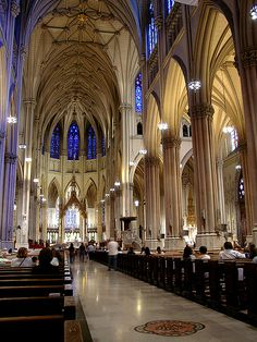 Saint Patrick's Cathedral by Jim in Times Square. Lord, here I am. St Patricks Cathedral Nyc, Empire State, Ville New York, I Love Nyc, Cathedral Church, Gothic Architecture, Religious Architecture, City That Never Sleeps, Chapelle