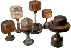 Six Antique Wood Millinery Block Hat Forms, great for vintage retail display or collection!