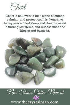Chert ~ Humour-Calming-Protection-Peaceful Sleep-Dreams-Lost Items-Block and Burden Release Shop new tumbled crystals online now at The Crystal Man! Minerals And Gemstones, Crystals Minerals, Rocks And Minerals, Crystal Healing Stones, Stones And Crystals, Gem Stones, Quartz Crystal, Crystal Guide, Crystal Magic