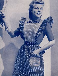 Vintage 1940s wartime utility aprons-3- made from scraps-diagram sewing pattern-pdf Instant download