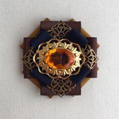 """Купить Брошь-орден """"Кристалл"""" - темно-коричневый, охра, оранжевый, тёмно-синий, винтаж"""