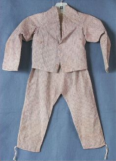 Suit, boy's, off-white, pink and blue plaid cotton, two pieces with empire waistline, c. 1811