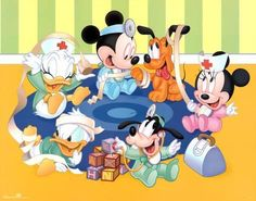 Baby Mickey playing doctor with Puppy Pluto, Baby Minnie, Baby Goofy, Baby Donald, and Baby Daisy Disney Babys, Disney Love, Disney Mickey, Disney Art, Walt Disney, Minnie Mouse, Mickey Mouse And Friends, Mickey Mouse Wallpaper, Disney Wallpaper