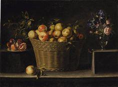 Juan de Zurbarán - (Hijo de Francisco de Zurbarán) Las manzanas en una cesta de mimbre,