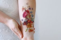 "Ship From Ny - Temporary Tattoo - 7"" X 3"" Vintage Floral"