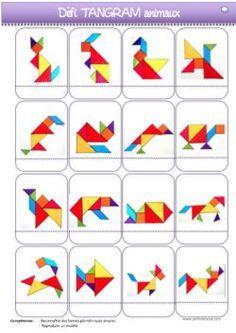 Voici les fiches de suivi pour le défi Tangram(niveau PS-MS).  Tangram Puzzles, Maths Puzzles, Math Literacy, Math Activities, Learning Through Play, Kids Learning, Diy Busy Books, Bullet Journal Diy, Geometry