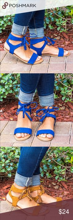 Michelle Royal Blue Tassel Lace Up Sandals This listing is for Royal Blue. Black is available in another listing on my closet. Soft faux suede and a lace-up upper, these sandals are perfect for your collection.   A gladiator-inspired silhouette that is the perfect charming accessory to any outfit, dressy or casual. Brand new without box. ❌No trades. Victoria adames Shoes Sandals