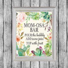 Mom-osa Bar Sign. Momosa Bar Printable. Baby Shower Mimosa