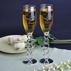 Personalized Wedding Toasting Flutes With Linked Heart Stem - USD $ 43.19