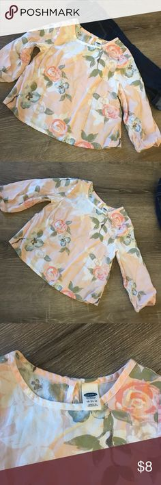 ON • floral blouse Soft pink back ground with large floral print. So cute with skinny jeans and boots. Only worn once. No rips or stains. Size 18-24 months Old Navy Shirts & Tops Blouses