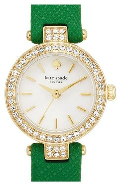 Kate Spade New York 'tiny Metro' Crystal Bezel Leather Strap Watch, 20mm