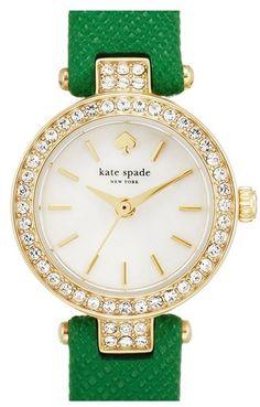 Kate Spade New York 'tiny Metro' Crystal Bezel Leather Strap Watch, 20mm