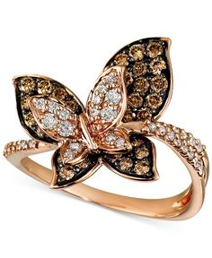 Le Vian Chocolate and White Diamond Butterfly Ring ct. Pink Gold Rings, Gold Rings Jewelry, Diamond Jewelry, Jewelry Watches, Diamond Rings, Jewellery, Pandora Jewelry, Modern Jewelry, Fine Jewelry