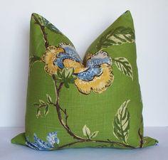 Grasslands Green Robert Allen linen pillow-Decorative Pillow Cover-throw pillow-Accent pillow-Toss pillow
