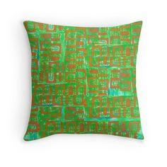 'Orange on Green design' Throw Pillow by ValMyburgh